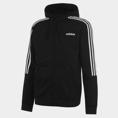 adidas Fleece 3 Stripes Full Zip Hoodie Mens