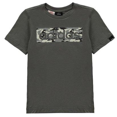 adidas Camo Linear T Shirt Junior