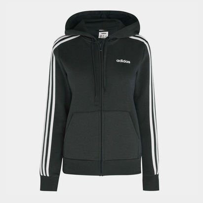 adidas 3 Stripe Zip Fleece Track Hoodie Ladies