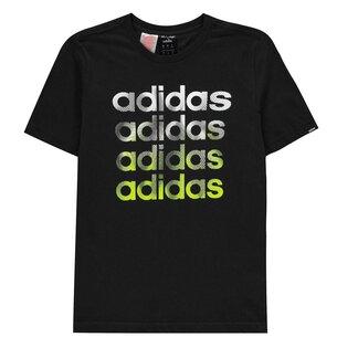 adidas Faded Repeat Logo T Shirt Junior Boys