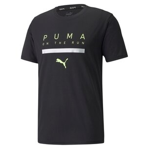 Puma Run Short Sleeve Logo T Shirt Mens