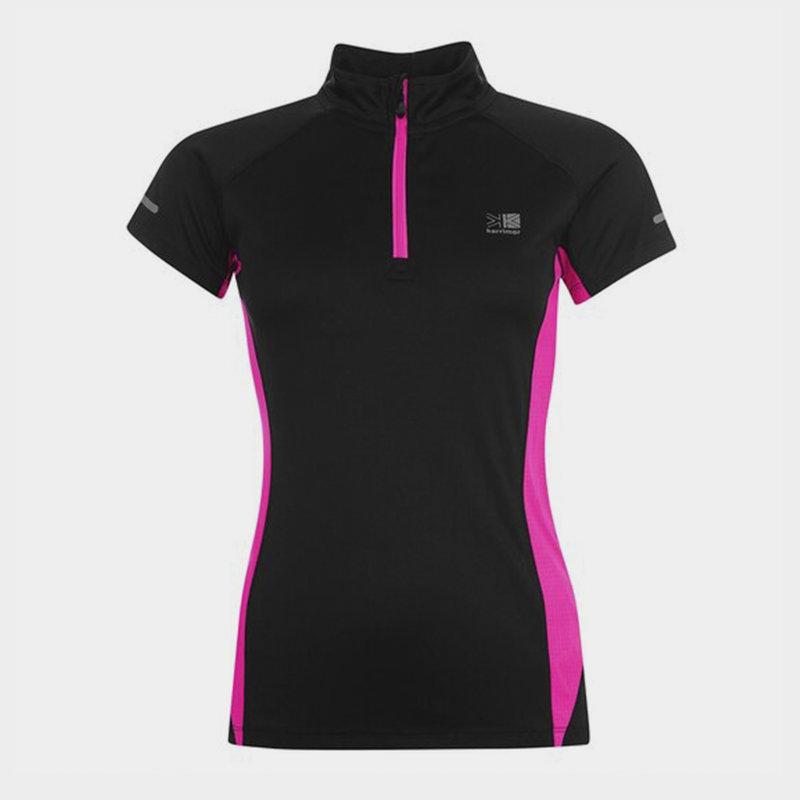 quarter  Zip Short Sleeve T Shirt Ladies