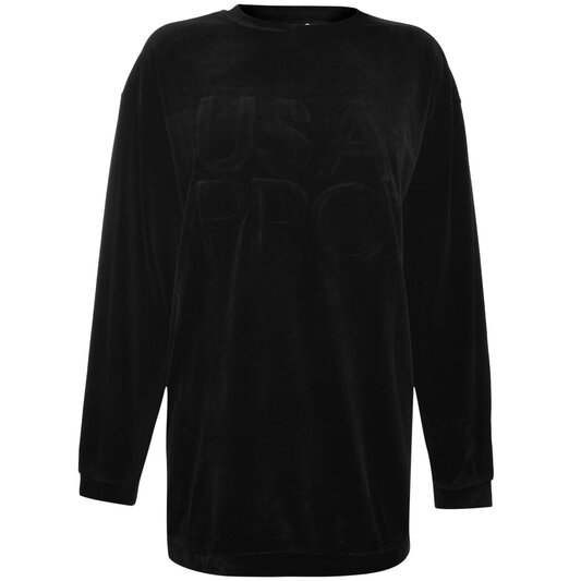Velvet Crew Neck Sweatshirt